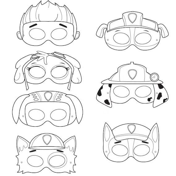 Paws Printable Coloring Masks dog masks by HungryPandaSupplies