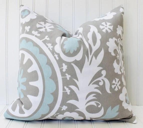 GRAY BLUE PillowPillowsDecorative Pillow CoversHome