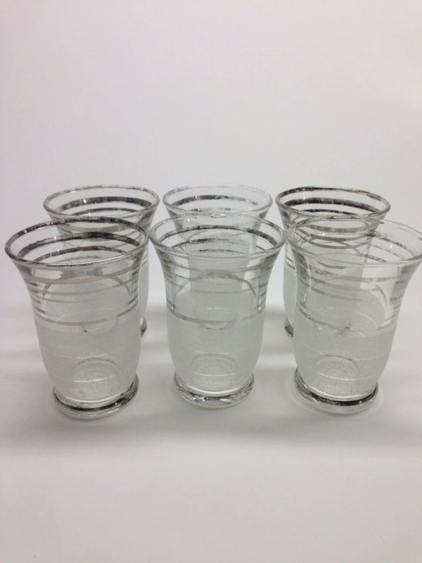 Juice Glasses With Silver Trim 4 Oz Set Of 6