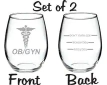 Etched OB/GYN Gynecologist Glass Set of 2 FREE Personalization