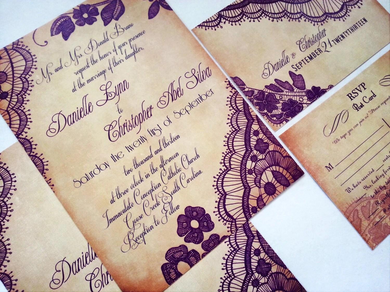 Wedding Invites Personalised: Elegant Lace Wedding Invitations