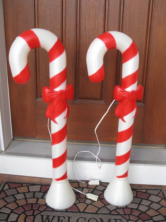 Set of 2 Union blow mold Candy Canes with bows30 high