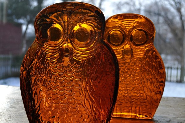 Blenko Amber Glass Owl Bookends Mid Centuty