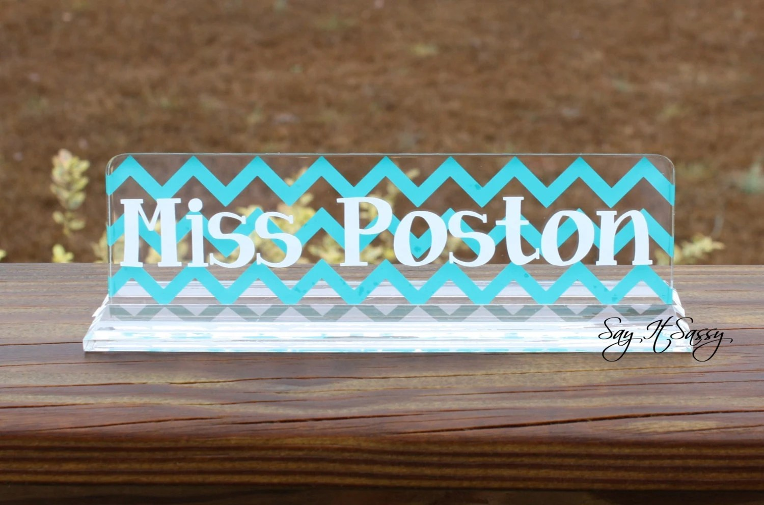 Personalized Desk Name Plate Great Teacher Gift Chevron