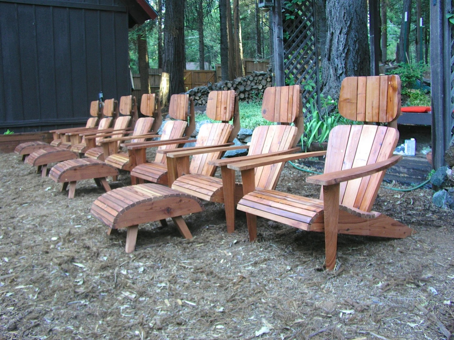 modern style adirondack chairs electric chair lift set of 8 with 4 ottomans and end