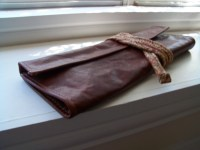 Churchwarden Pipe and tobacco pouch leather pipe bag
