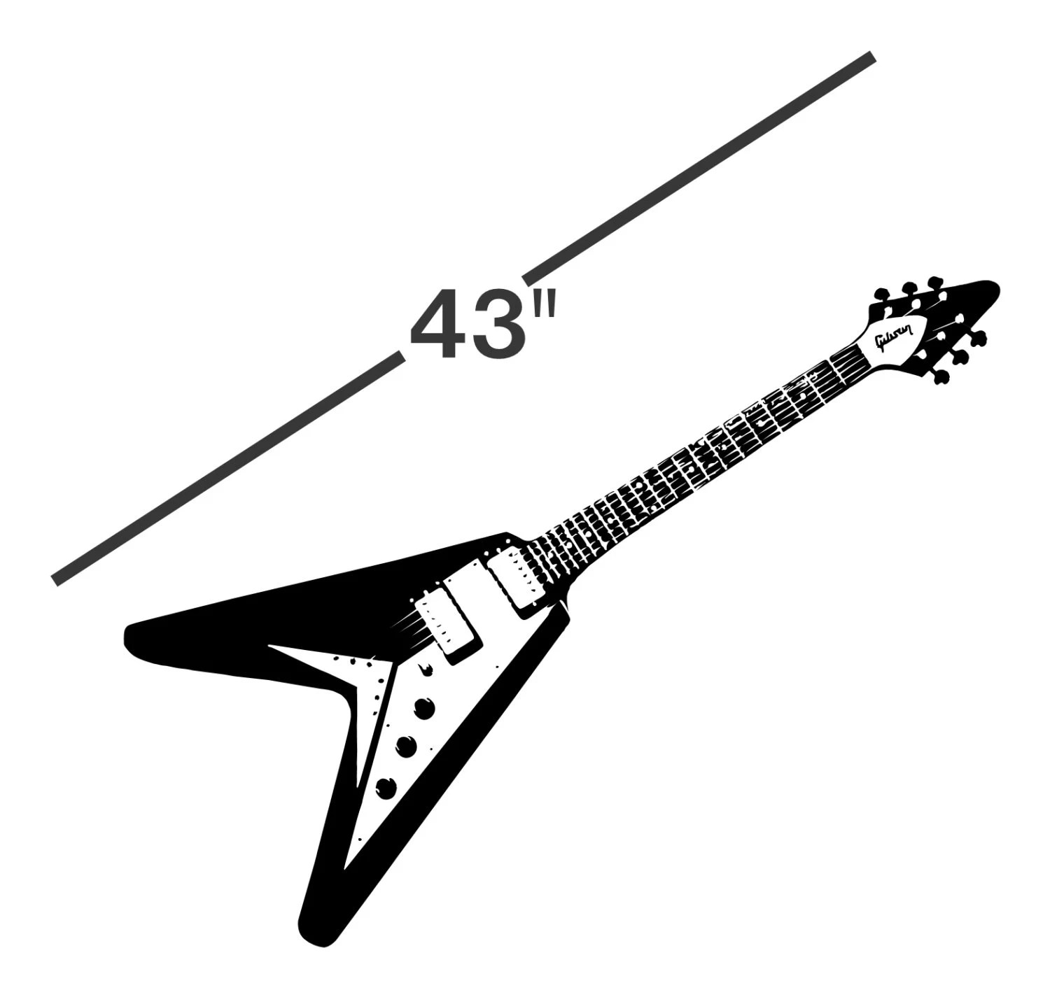 43 Guitar Decal Life Size sticker flying v wall art