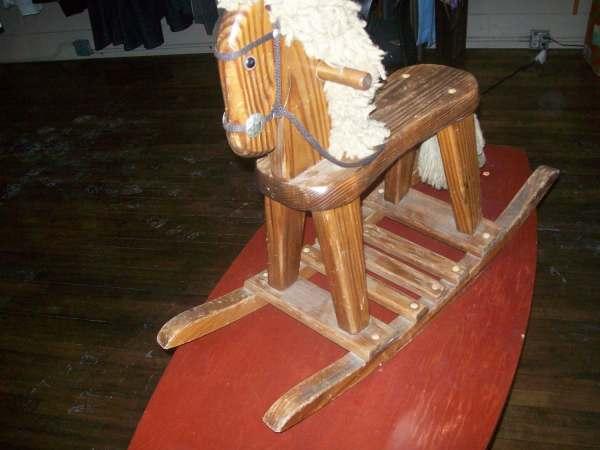 Antique Wooden Rocking Horse Vintage Small Elegantfashion1