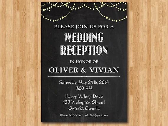 Wedding Reception Invitation Reception Invite Chalkboard