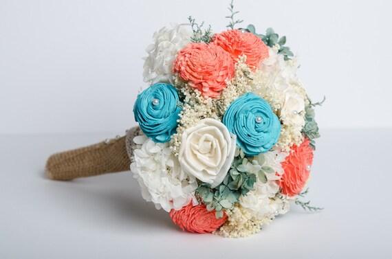Sola Flower Bridal Bouquet Turquoise &Coral Bridal