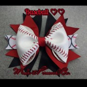 baseball hair bow real ball