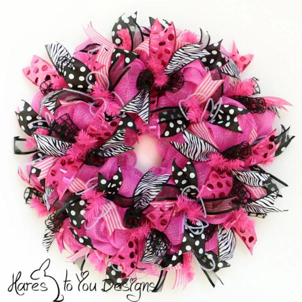 Deco Mesh Wreath Pink Door Summer Zebra