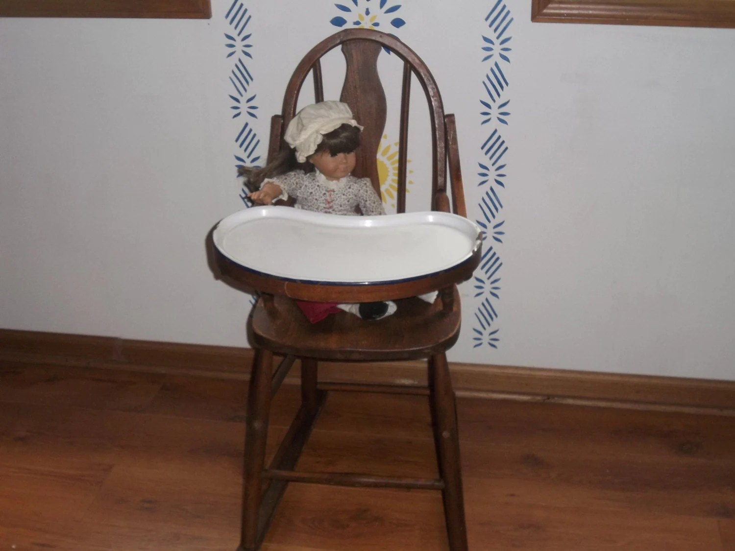 antique high chairs steelcase amia chair instructions wooden with porcelain tray