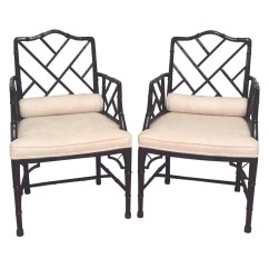 Chinese Chippendale Chairs Chair For Standing Desk Baker Faux Bamboo Hollywood Regency