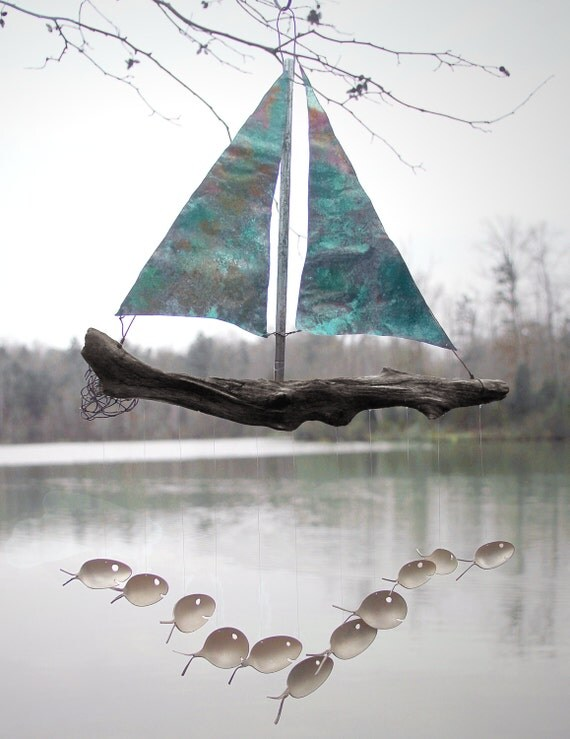 Xl - Colher Fish and Copper veleiro Wind Chime,