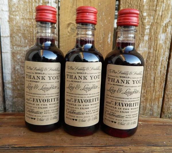 Mini Wine Bottle Labels Wedding Favor Paperandlaceshop