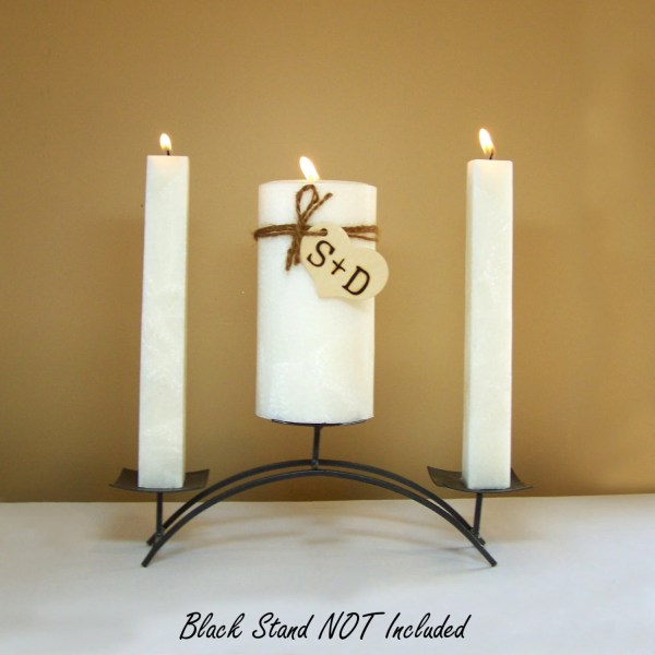 Personalized Rustic Unity Candle Set Weddings Stand