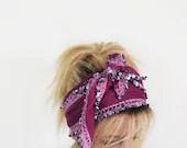 Purple Cotton Spring Headband, Hairband, Crochet Hairband, Women's Head Wrap, Hair Accessories, For Women, For Her - aynurdereli
