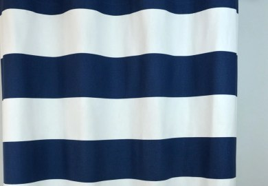 Navy Blue And White Horizontal Striped Curtains