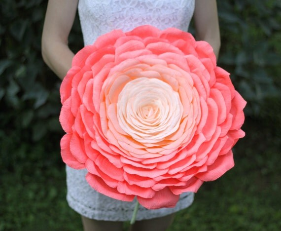 Giant Ombre Composite Bouquet Made Of Petals. Giant Paper