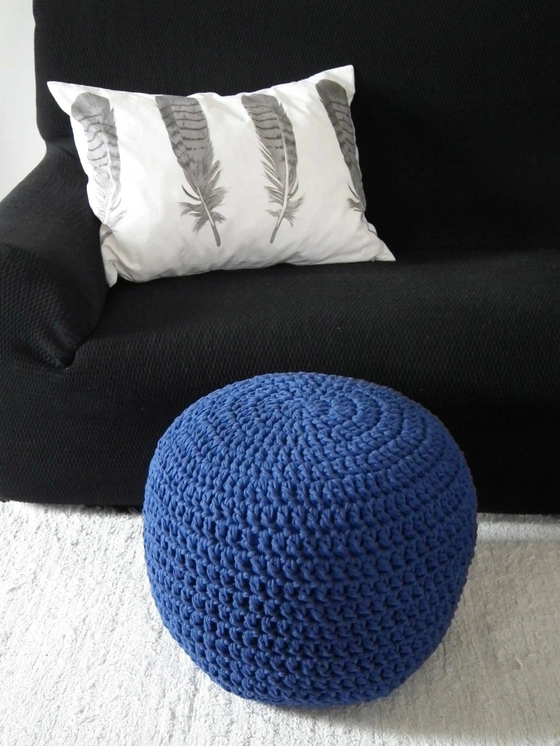 Pouf Chair Cobalt Blue Floor Pouf Ottoman Royal Blue Foot Pouf Nursery