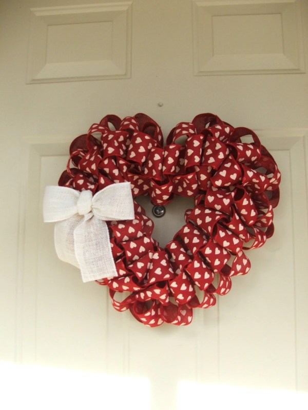 Valentines Day Red Burlap With White Hearts Ribbon