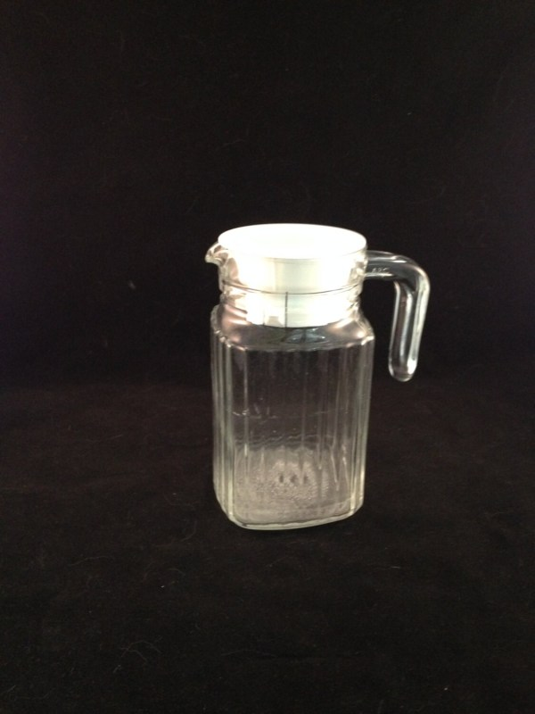 Ribbed Glass Juice Pitcher Syrup Milk Creamer With Lid