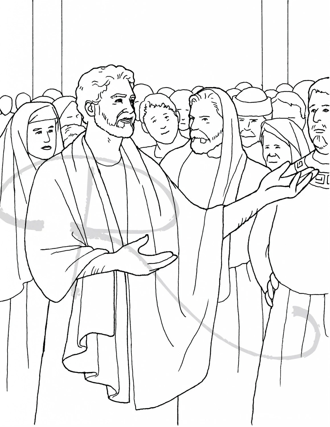 Peter Preaching Coloring Page Sketch Coloring Page