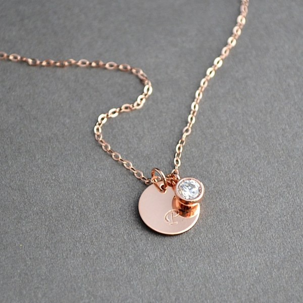 Rose Gold Initial Necklace Personalized Bridesmaid