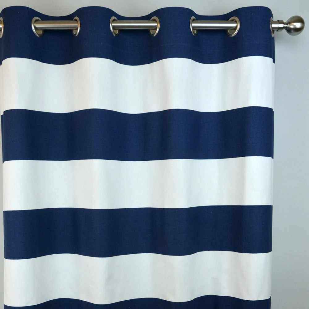 Navy White Horizontal Stripe Curtains Cabana Grommet Top