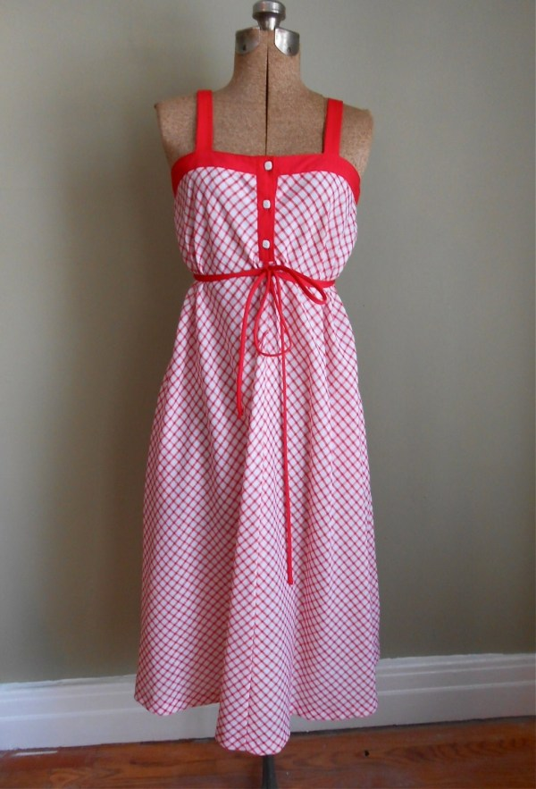 Cotton Sundress Red White Plaid Tie Belt Vintage 60s Womens