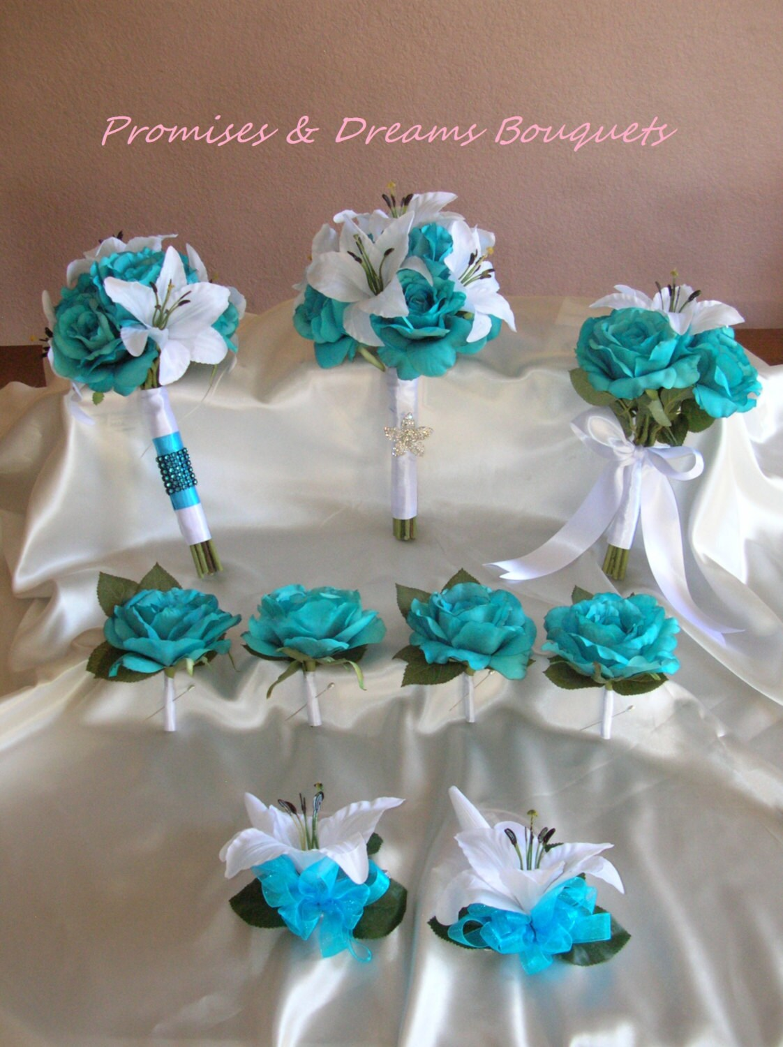 Tropical Turquoise Rose  Tiger Lily Bouquet by PromisesAndDreams