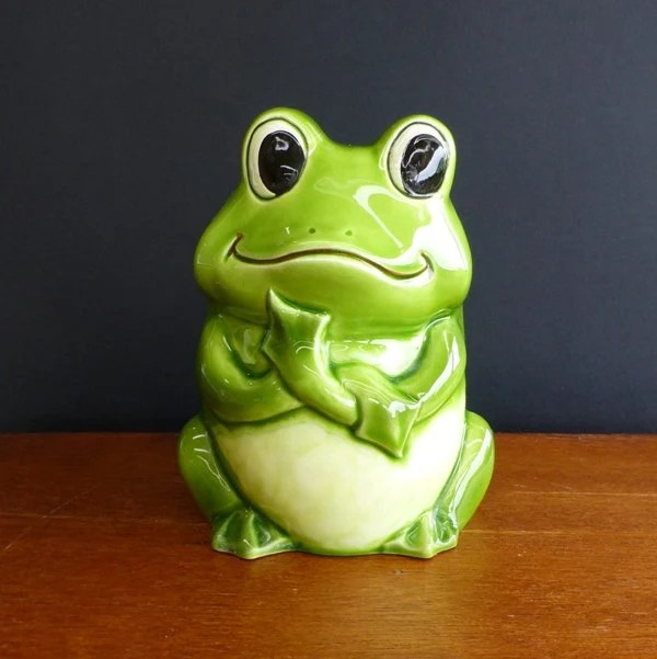 Vintage Ceramic Frog Planter Made In Japan 1970s By