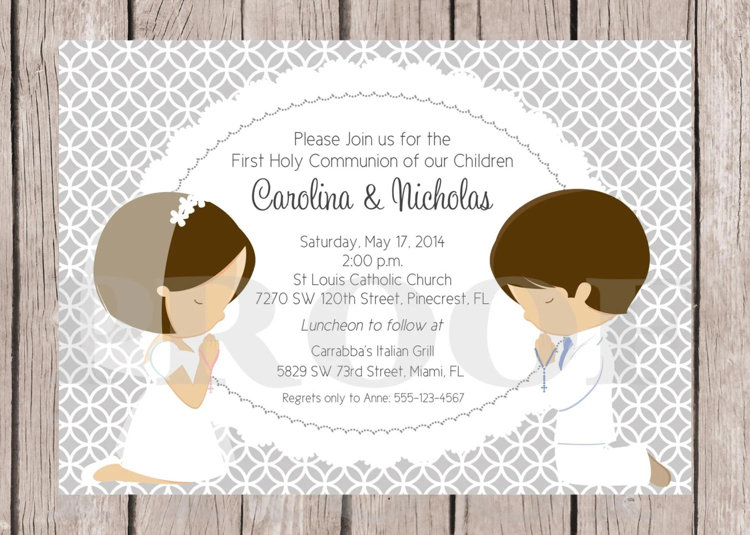 Printable First Holy Communion Invitation For By Ciaobambino