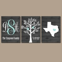 Family Tree Wall Art Personalized Monogram CANVAS or Print