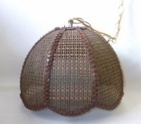 Brown Wicker Swag Lamp Mid Century Retro Lighting Eames Era