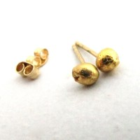 Solid 24k Gold Studs 24 Karat Gold Nugget Post Earrings