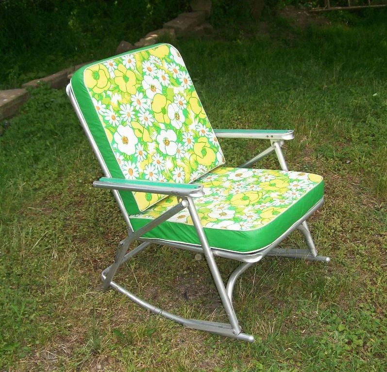 vintage 1950s aluminum rocking lawn chair padded cushion