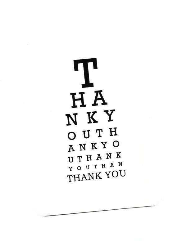 Items similar to Eye Chart Card.Thank You.Eye Chart.Eye