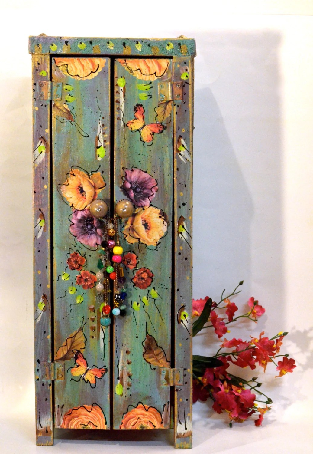 Boho Handmade Wooden Standing Cabinet Mexican Shabby Cottage