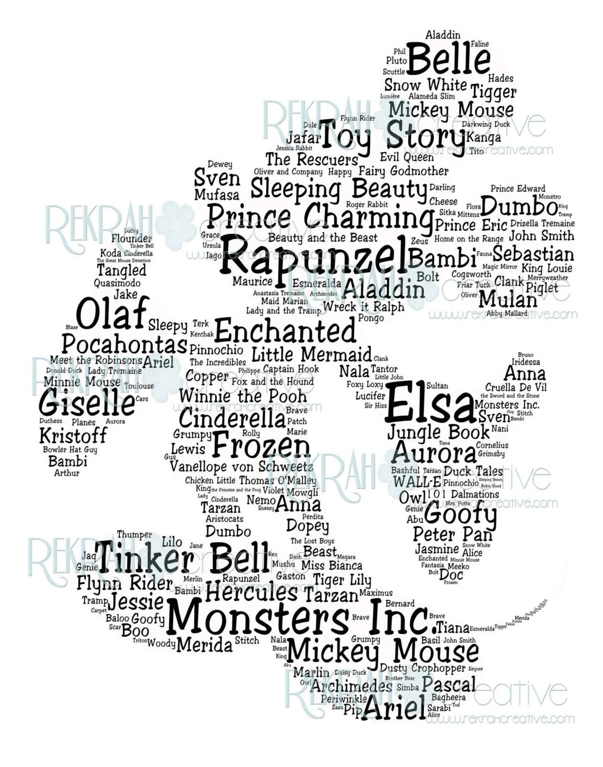 Mickey Mouse Shaped Subway Art with character names and movies