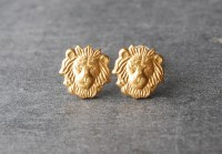 Lion Earrings Brass Lion Head Stud Earrings