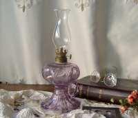 Antique Oil Lamp Purple Glass Finger Lamp Hurricane Lamp