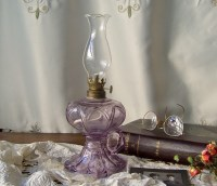 Antique Oil Lamp Purple Glass Finger Lamp Hurricane Lamp