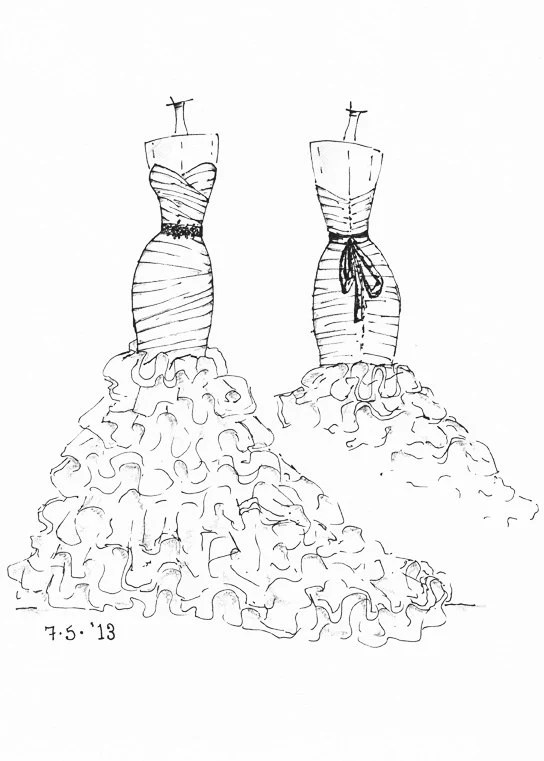 Items similar to FRONT and BACK dress sketch of YOUR