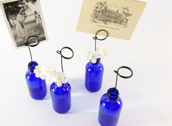 Cobalt Blue Bottle Bud Vases and Photo Holders Place Card