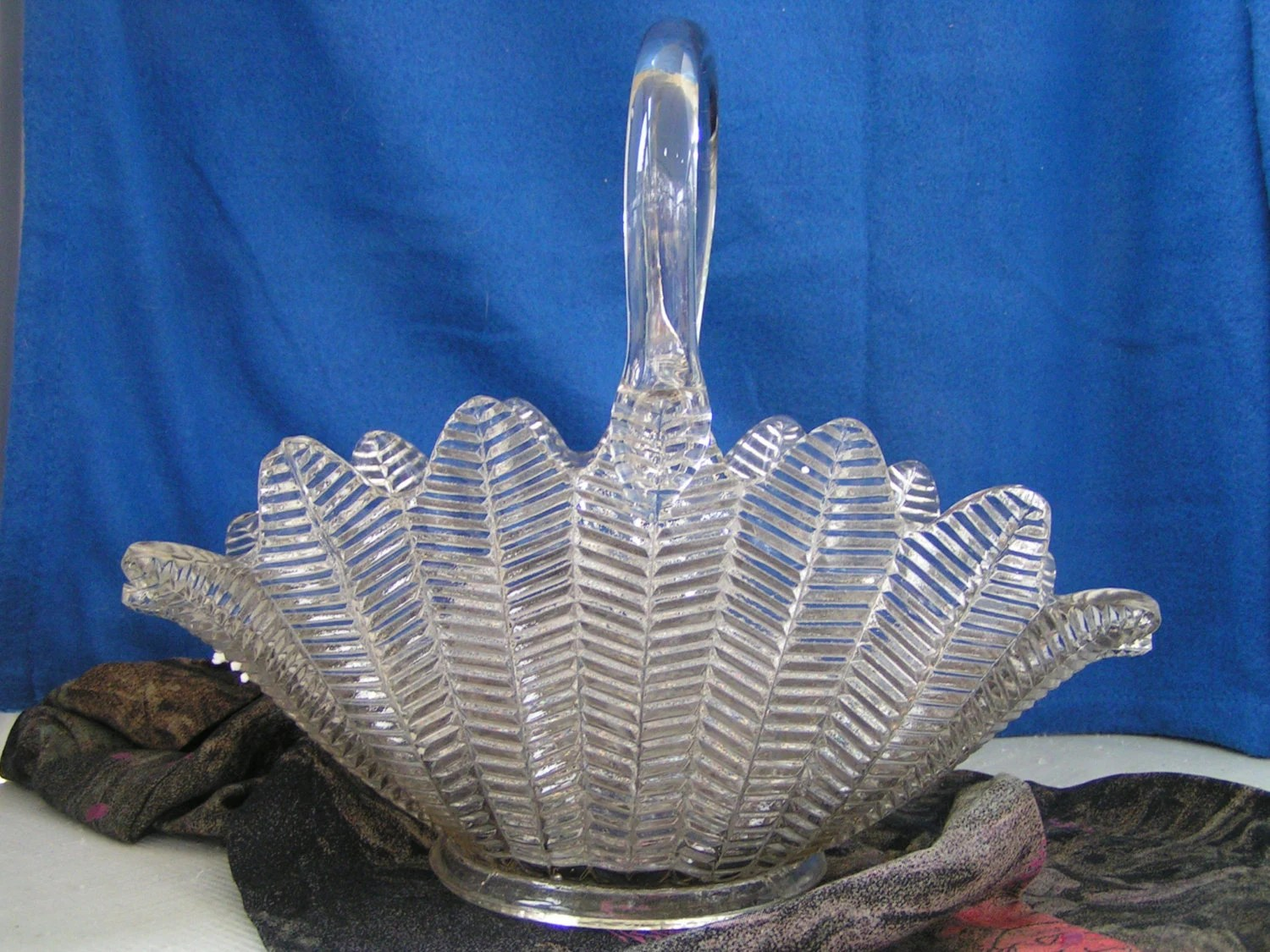 Large Clear Glass Feather Basket With Handle Old Vintage And