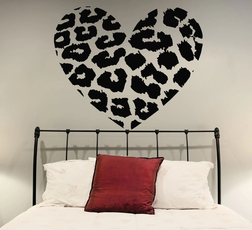 Perfect Leopard Print Hearts Wall Decals In Purple Radial And Part 30