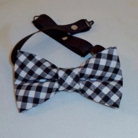 Black and white checkered stipe bow tie