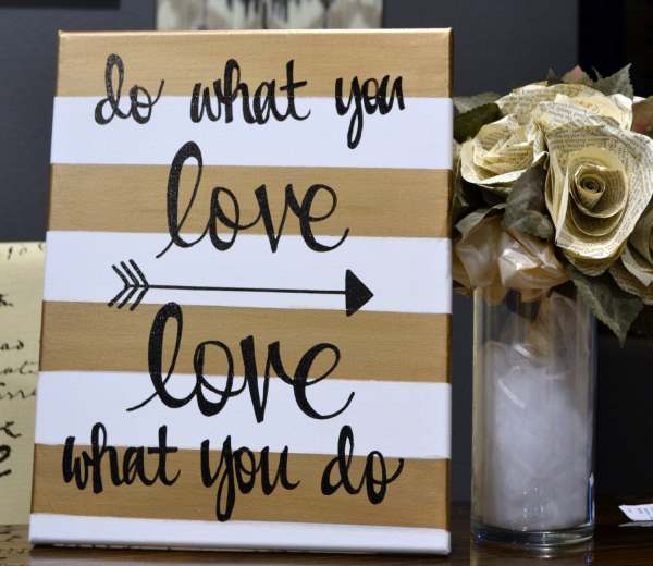 Inspirational Canvas Wall Art Painting Gold And